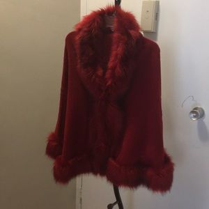 Jackets & Blazers - Glam red faux fur lined cape wrap